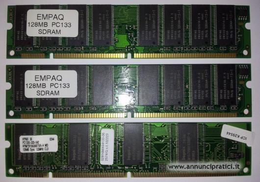 Memoria PC133, 384 MB, (3 X 128 MB), 168 pin.