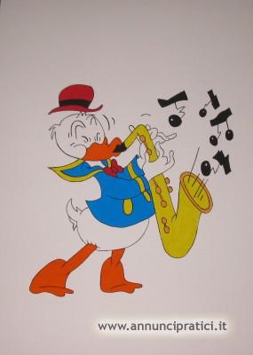 Disegno Paperino con sassofono a tempera