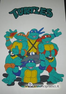 Disegno Turtles a tempera